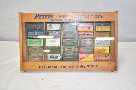 Collection of 22 Ammo & Boxes Approximately 1050 Rds , Peters Display Case