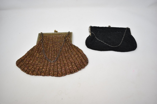 Two Vintage Micro Beaded Clutch Purses