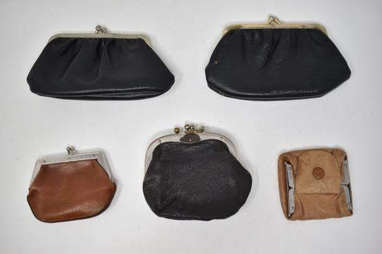 Five Vintage Leather Coin Purses