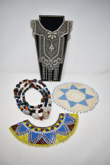 3 Micro Beaded Vintage Necklaces, Collar & Doily