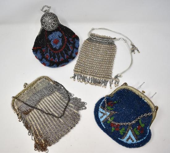 Four Vintage Micro Beaded Ornate Purses