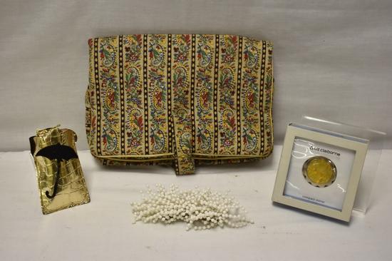 Vintage Travel Bag, Rain Bonnet, Compact & Barrett
