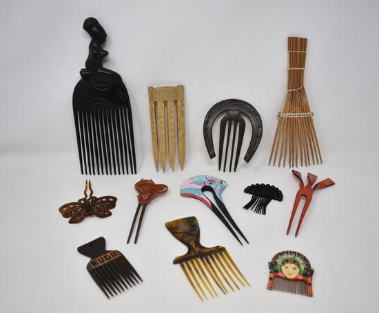 Twelve Vintage Hair Combs