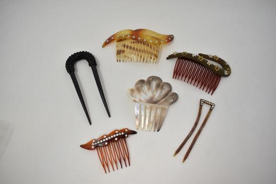 Eight Vintage Hair Tuck Combs