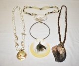Four Vintage Beaded Shell Necklaces