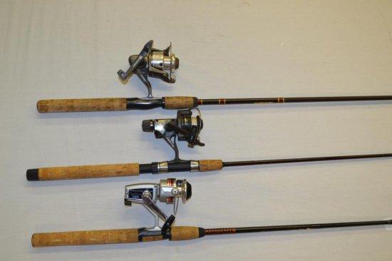 3 Fishing Rods w/Reels