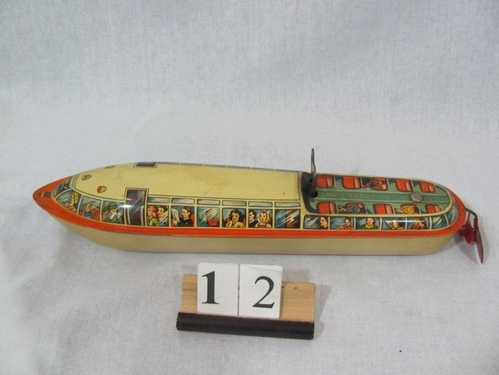 1 in lot, Tin Sightseeing Boat wind up, spins propeller, made in Western Ge