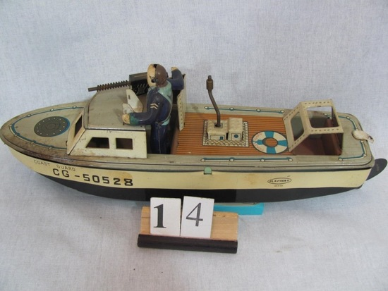 1 in lot, CG50528 Coast Guard Cutter wind up working, missing steering whee