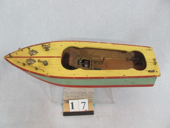 1 in lot, Wooden Pleasure Boat battery operated, nautical detailing, missin