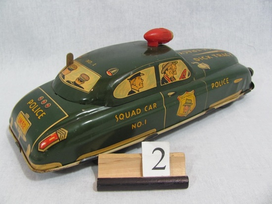 1 in lot, Dick Tracey tin, wind-up, Squad Car No. 1 , licence LM 52, with l