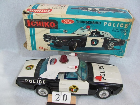 1 in lot, Thunderbird Police Car Boxed Ichiko battery operated  tin Police
