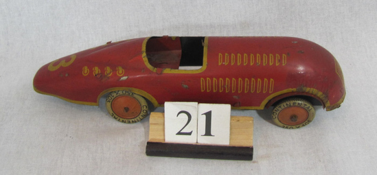1 in lot, Red Race Car Friction tin race car #3, missing driver and maybe w