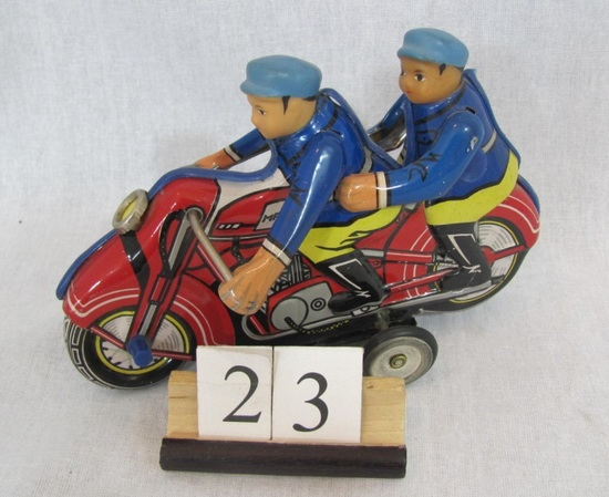 1 in lot,  Tin Motorcycle with two riders Friction Tin motorcycle model #MF