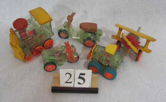 1 lot of 5,  Plastic friction vehicles Small plastic train engine, airplane