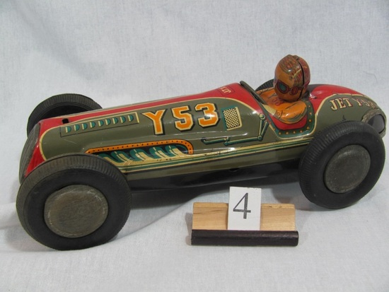 """1 in lot, tin Racing Car 12"""", JET Y53 with tin driver, detailed lithographi"""