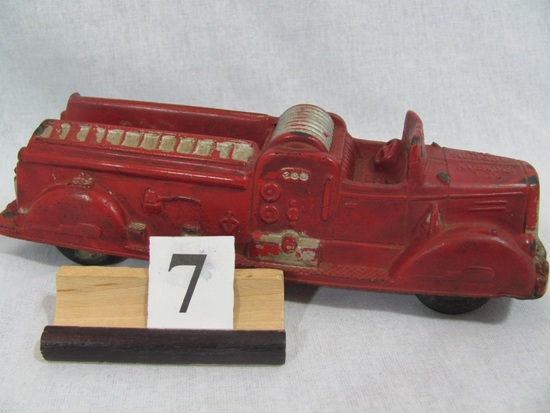 """1 in lot, Rubber Fire Truck red with silver accent, 8"""" long, made in  U.S.A"""