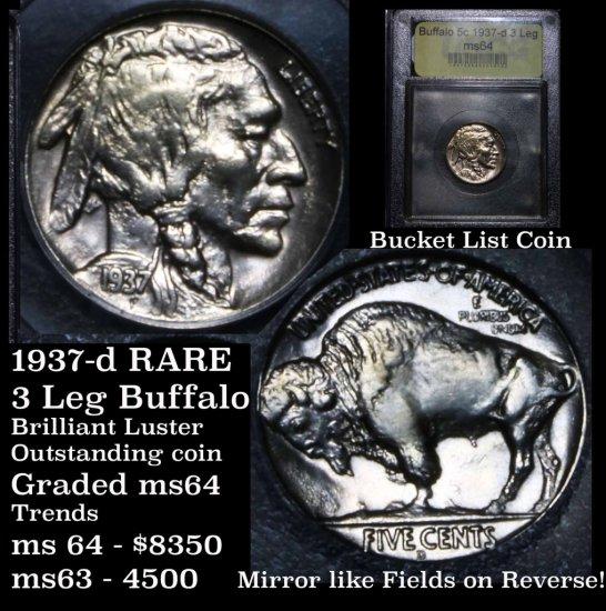 ***AUCTION HIGHLIGHT 1937-d 3-Leg Buffalo Nickel 5c Graded Choice Unc USCG MS BU (fc)