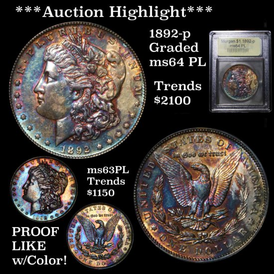 ***Auction Highlight*** 1892-p Morgan $1 Graded Choice Unc PL By USCG Much better date, Toned (fc)