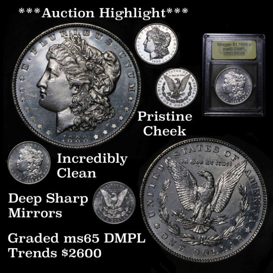 ***Auction Highlight*** 1888-p Morgan Dollar $1 Graded Gem Unc DMPL MS BU By USCG (fc)