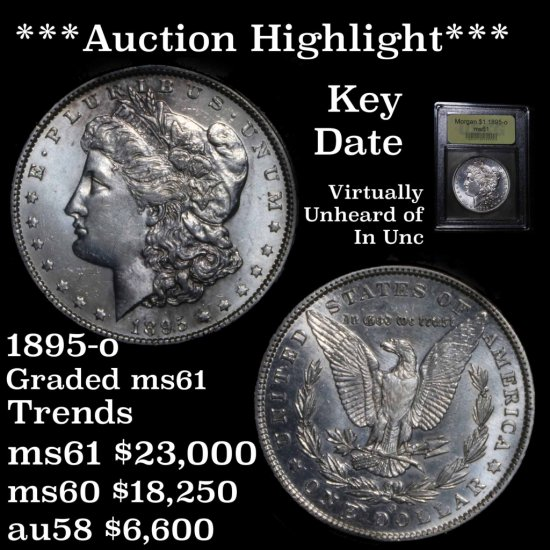 ***Auction Highlight*** 1895-o Morgan Dollar $1 Graded BU+ Brilliant Uncirculated+ by USCG (fc)