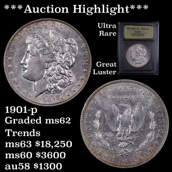 *** Auction Highlight *** Ultra rare 1901-p Morgan $1 Great luster Graded Select Unc by USCG PQ (fc)