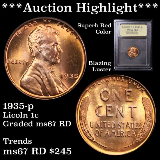 *** Auction Highlight *** Superb Red Color 1935-p Lincoln Cents 1c Graded Gem++ Unc RD USCG DDO (fc)