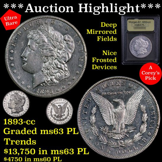 *** Auction Highlight *** Key Date 1893-cc Morgan $1 Nice Frosted Devices Graded Select Unc PL (fc)