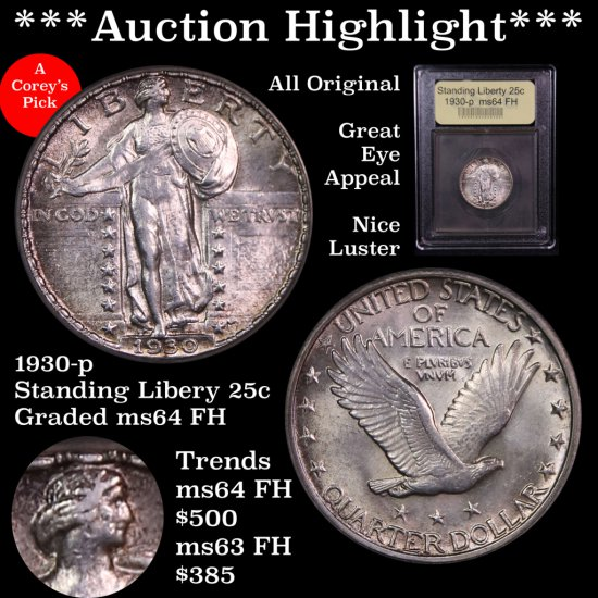 *** Auction Highlight *** All Original 1930-p Standing Liberty 25c Graded Choice Unc FH By USCG (fc)