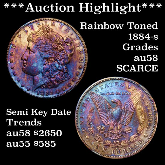 *** Auction Highlight *** Toned 1884-s Morgan Silver Dollar $1 Grades Choice AU/Slider Key Date (fc)