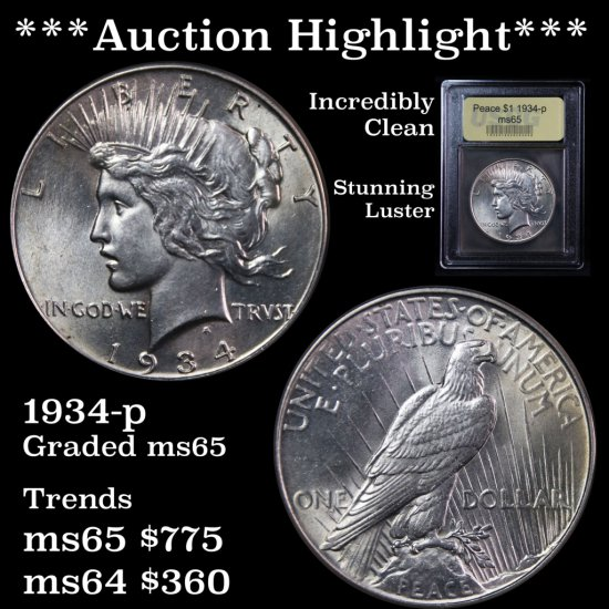 *** Auction Highlight *** Stunning 1934-p Peace Dollar $1 Incredibly Clean Graded Gem Unc USCG (fc)