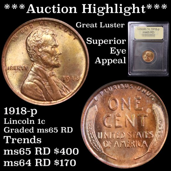 *** Auction Highlight *** 1918-p Lincoln Cent 1c Graded Gem Unc RD by USCG Great coin (fc)