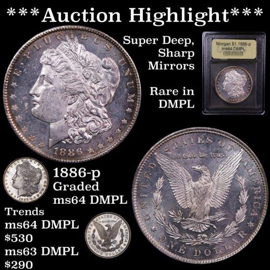 *** Auction Highlight *** 1886-p Morgan $1 Graded Choice Unc DMPL USCG Super Deep Sharp Mirrors (fc)