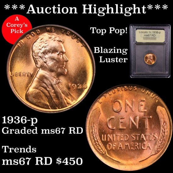 *** Auction Highlight *** Top Pop 1936-p Lincoln Cents 1c Graded Gem++ Unc RD By USCG Stunning (fc)