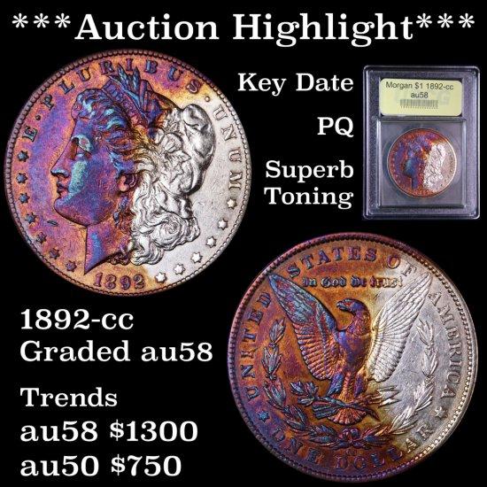 *** Highlight of the Auction*** Key 1892-cc Morgan  $1 Graded Choice AU/Slider PQ Superb toning (fc)