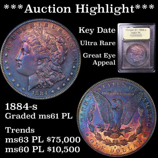 ***Auction Highlight *** Key Date 1884-s Morgan $1 Ultra rare Graded BU+ PL by USCG Great eye Appeal