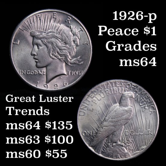 Great Luster 1926-p Peace Dollar $1 Grades Choice Unc