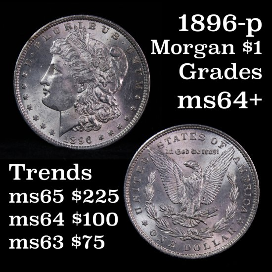 Near Gem 1896-p Morgan Dollar $1 Grades Choice+ Unc (fc)