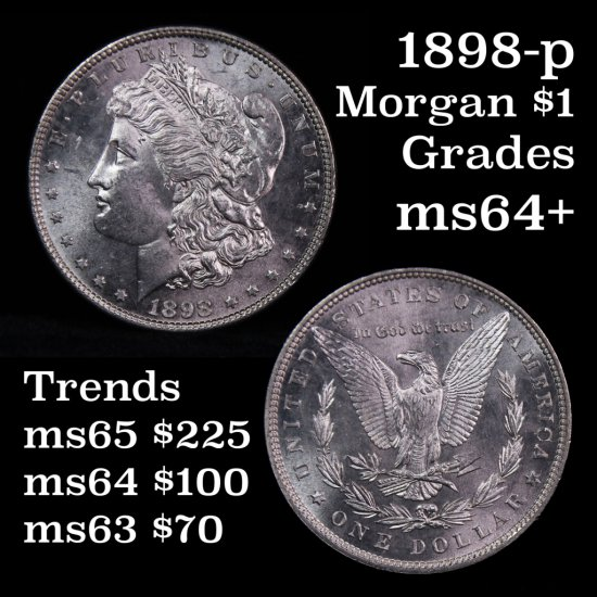 Semi PL 1898-p Morgan Dollar $1 Very Near Gem Grades Choice+ Unc (fc)