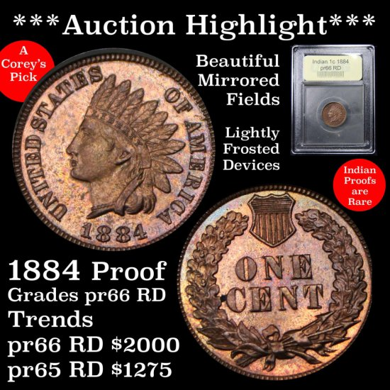 *** Auction Highlight *** Spectacular 1884 Proof Indian 1c Graded Gem+ Proof RD by USCG Superb (fc)