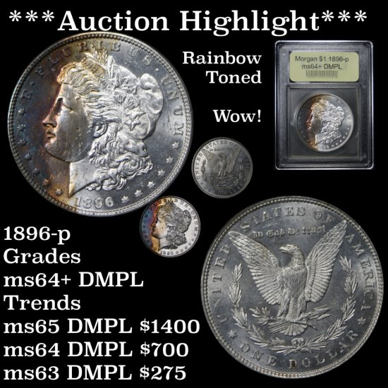***Auction Highlight*** Spectacular rainbow toning 1896-p Morgan $1 Graded Choice+ Unc DMPL USCG (fc