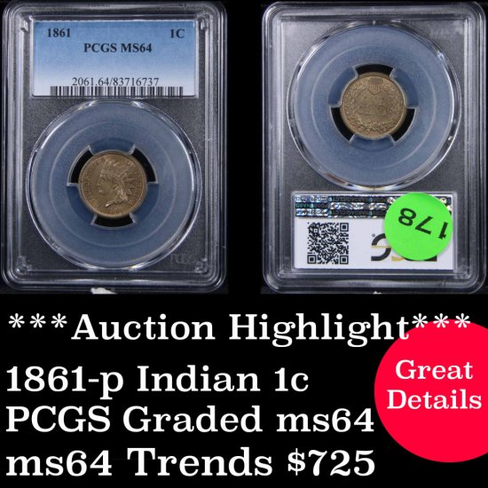 ***Auction Highlight*** PCGS 1861-p Indian cent 1c Graded ms64 by PCGS (fc)