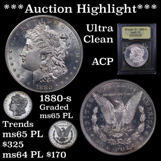 *** Auction Highlight *** Ultra Clean 1880-s Morgan Dollar $1 ACP Graded Gem Unc PL By USCG (fc)