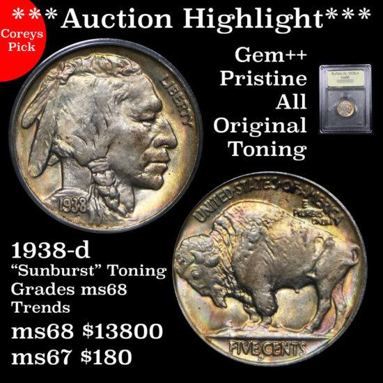 ***Auction Highlight*** Pristine 1938-d Buffalo nickel 5c Superb Graded Gem+++ Unc By USCG (fc)