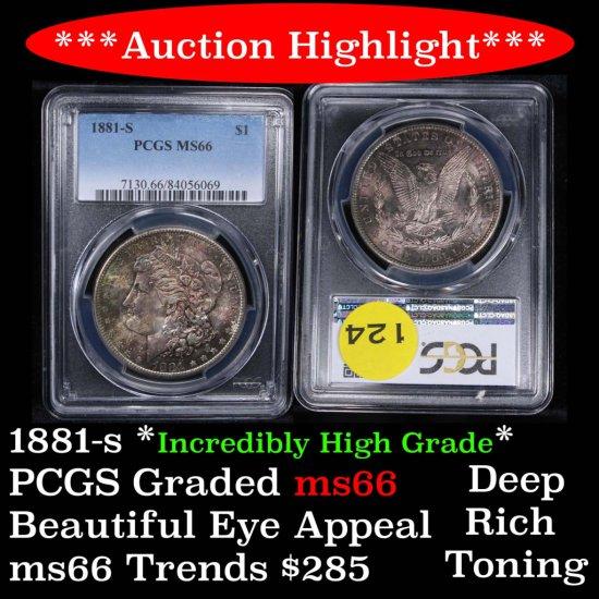 ***Auction Highlight*** Deep rich toning 1881-s Morgan Dollar $1 Graded ms66 By PCGS High grade (fc)