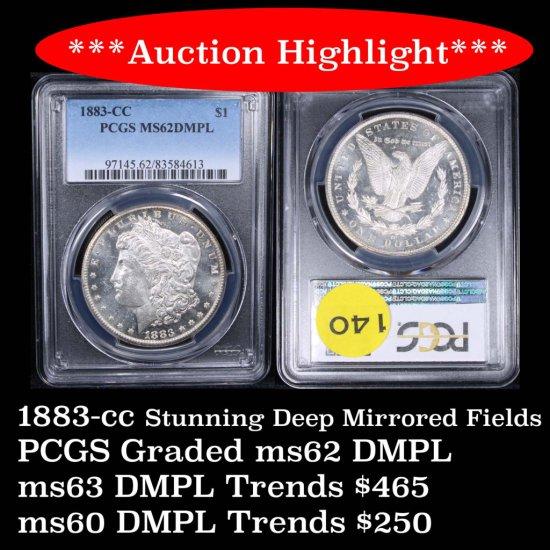 ***Auction Highlight*** PCGS 1883-cc Morgan Dollar $1 Deep mirrors Graded ms62 DMPL By PCGS PQ (fc)