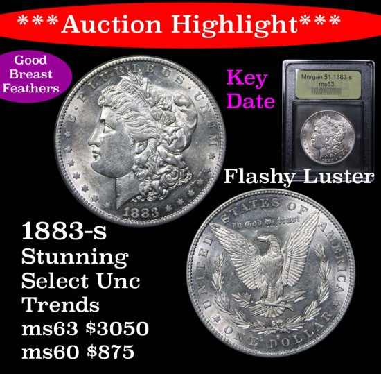 ***Auction Highlight*** Stunning key date 1883-s Morgan Dollar $1 Graded Select Unc By USCG (fc)