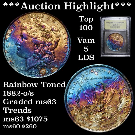 ***Auction Highlight*** 1882-o/s Top 100 Vam 5 Morgan Dollar $1 Grades Select ms63, Toned (fc)
