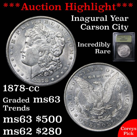 ***Auction Highlight*** 1878-cc Morgan Dollar $1 Graded Select Unc By USCG Great strike (fc)