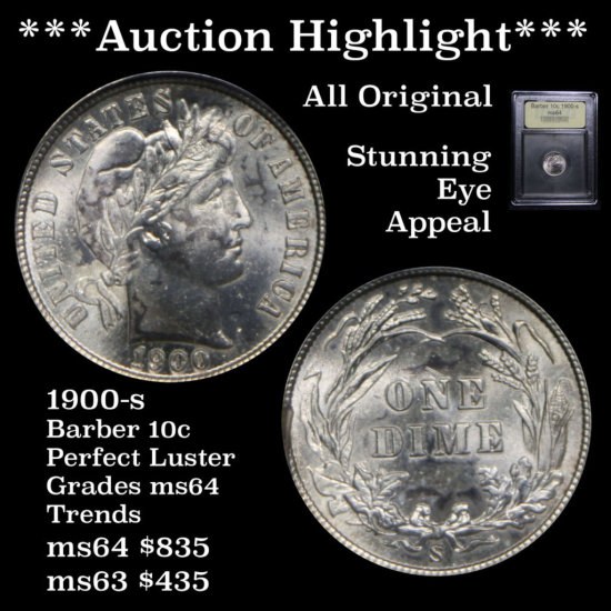 ***Auction Highlight*** 1900-s Barber 10c Perfect Luster Graded Choice Unc By USCG (fc)