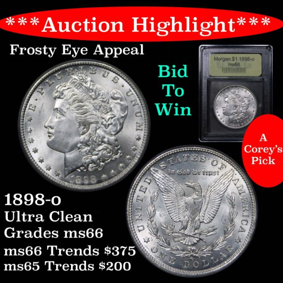 ***Auction Highlight*** Outstanding 1898-o Morgan $1 Graded GEM+ Unc By USCG PQ in every way (fc)